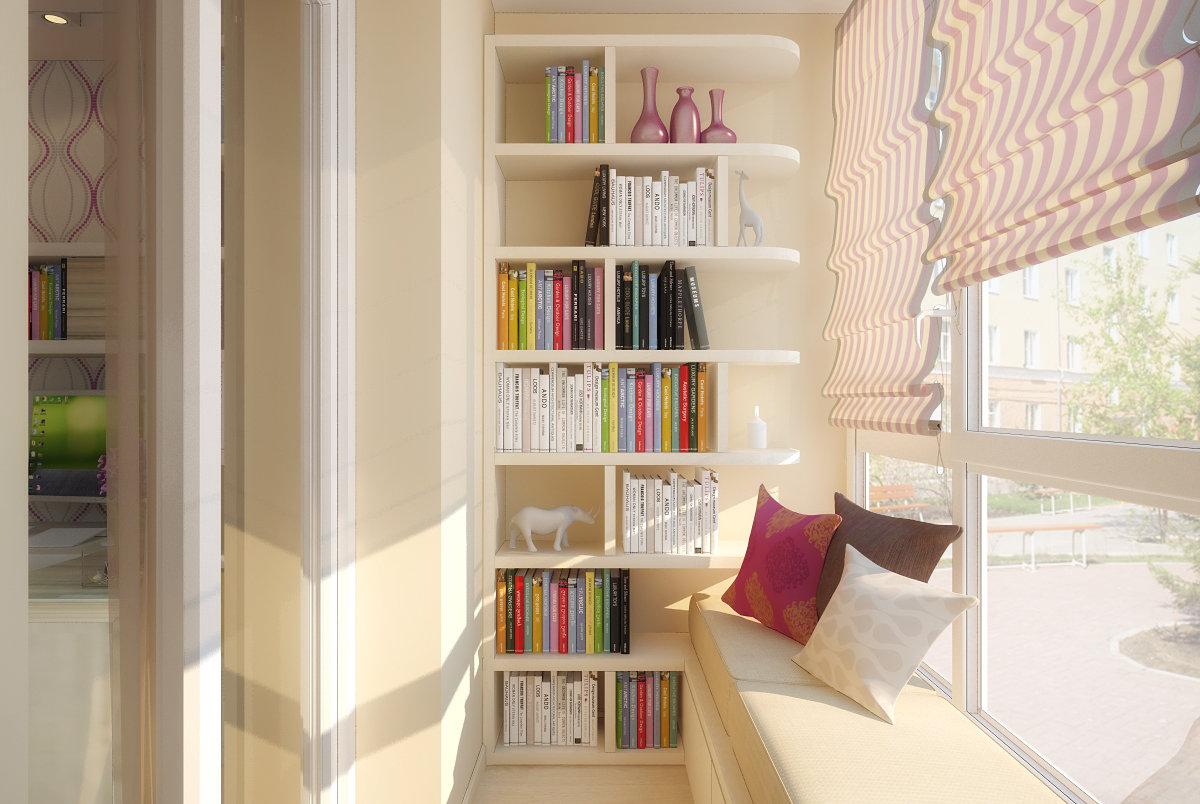 Книжные полки на балконе